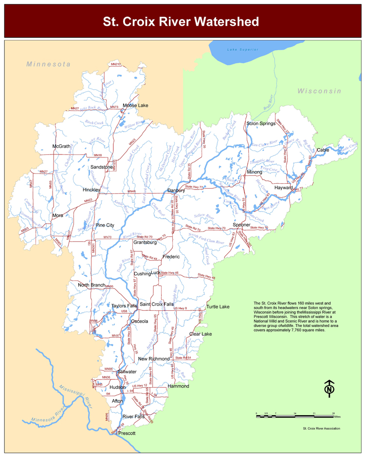 Map courtesy of the St. Croix National Scenic Riverway map image