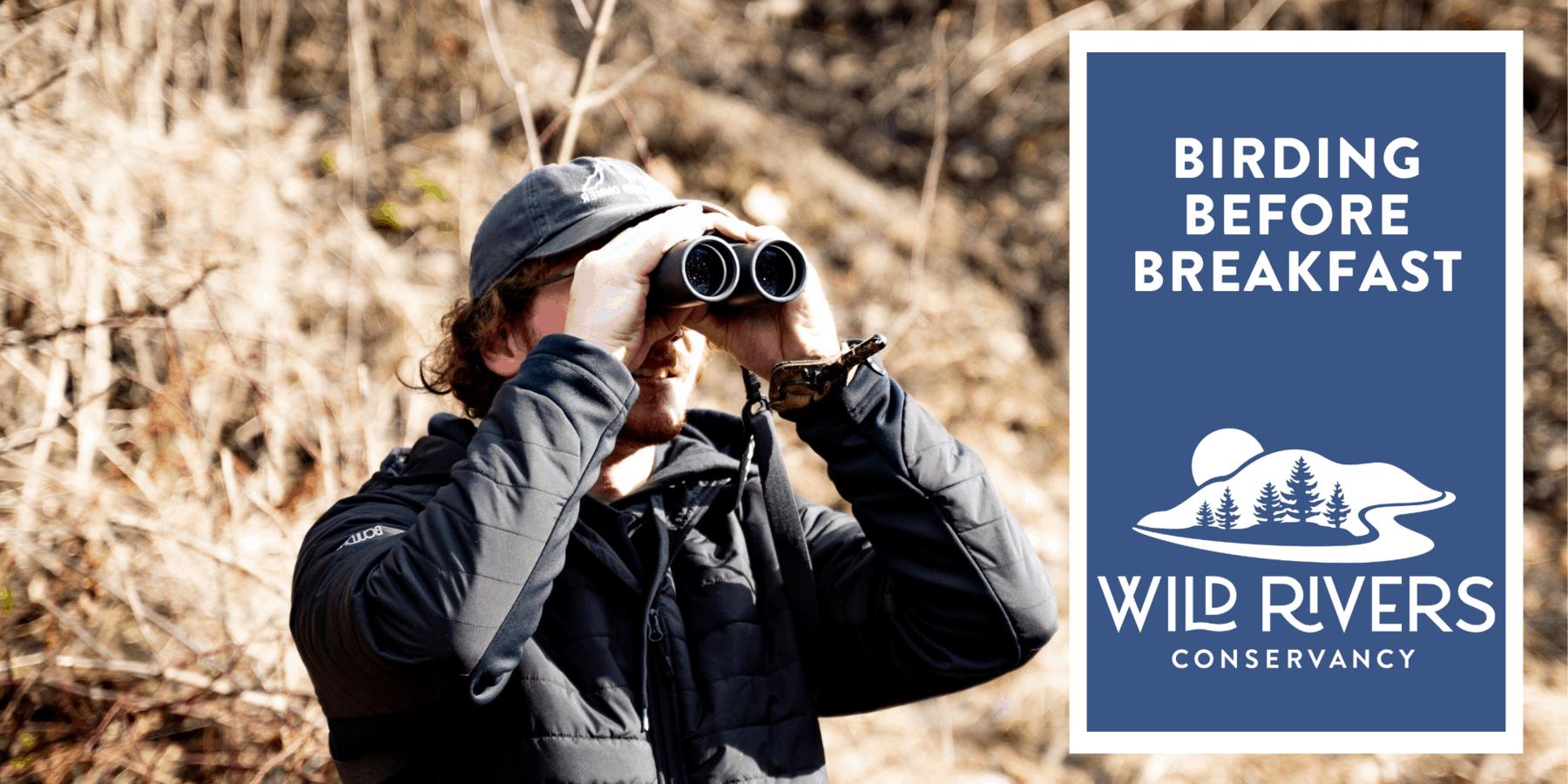 Man looking through binoculars at birds